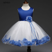 Wholesale Girls New Cotton Frocks - Christmas Costume For Teenager Girl Flower Wedding Dresses New Children Bow Lace Princess Ball Gown Dress Kid Petal Tassel Frock