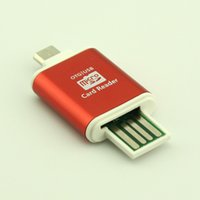Wholesale Sd S3 - Aluminum Micro USB SD SDXC SDHC TF OTG Card Reader Adapter Samsung S3 S4 Android Mobile Phone & PC Tablets Dual Use