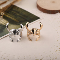 Wholesale helmet punk - Film jewelry Thor dark world Rocky Helmet Ring gold silver finger rings Band Rings cuff unisex cosplay Props punk jewelry 080076
