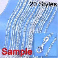 """Wholesale Silver 925 Sample - Wholesale-Jewelry Sample Order 20Pcs Mix 20 Styles 18"""" 925 Sterling Silver Link Necklace Set Chains+Lobster Clasps 925 Tag"""