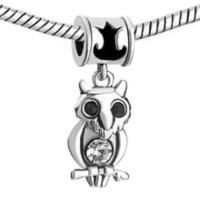 Wholesale Owl Bead Enamel - Factory sale Rhodium plating black enamel owl Dangle Charm European DIY bead fit Pandora Chamilia Biagi bracelet