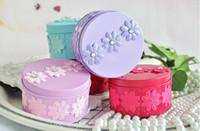 Wholesale Taro Wholesalers - 30Pcs Lot Personality taro purple iron box Wedding Candy Boxes Round Lace Flowers Favor Holders 2015 Jun New Style