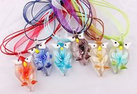 Wholesale 3d murano glass pendant - Hot wholesale 6pcs handmade mix color Italian venetian 3D Owl flower Lampwork murano glass beads pendant 3+1 silk necklaces
