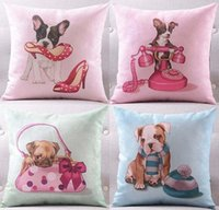 Wholesale Dog Velvet Shoes - 4 Styles Lovely Dogs Cushions Pillows Covers Chihuahua Pug Dog High-heel Shoes Handbag Cushion Cover Decorative Sofa Seat Pillow Case