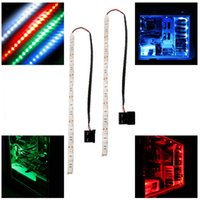 Wholesale Led Long Wire - New style 12V 5050 SMD Blue Red Green modding PC Case LED strip light 30cm LED long molex connector