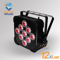 Wholesale Led Power Cans - 12X LOT Rasha Hot Sale 9pcs*15W 5in1 RGBAW Battery Power Wireless LED Par Light,LED Slim Par Can For Event,Disco Party