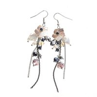 Wholesale White Baroque Pearl Earrings - Natural Shell Drop Earrings Long Tassel Hanging Earrings for Woman Fashion Handmade Crystal Bead Baroque Pearl Dangle Chandelier Earring