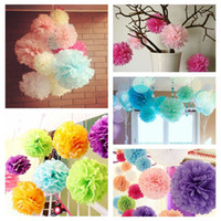 """Wholesale Product White Paper - 8"""" (20CM) 10PCS Lot Paper Artificial PomPom Tissue Ball Flower For Wedding Home Party Room Decoration Pompon Craft Products"""