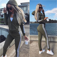 Wholesale Two Piece Knit Suit - New Women Active Set Tracksuits Hoodies Sweatshirt +Pant Running Sport Track Suits 2 Pieces Jogging Sets New Women's Sports Casual Suit