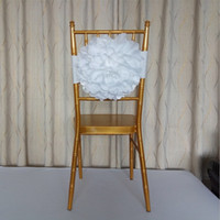 Wholesale White Chair Design - New Arrival White Flower Bamboo Chair Decoration Streamers Upscale Design Chair Sash Ruffle Cover for Wedding Banquet Decoration Supplies