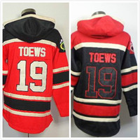 Wholesale Cheap Sweatshirts Free Shipping - cheap #19 Jonathan Toews black Red NHL Hooded Sweatshirt Free Shipping Embroidery Logo jersey
