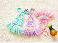 Wholesale Blue Suspender Skirt - Kids swimwear new sweet Girls lace ruffle suspender tulle tutu cake skirt swimwear kids spa Beachwear Children Siamese swimsuits 7315