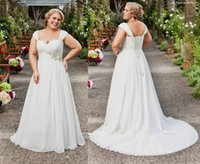 Wholesale Sequin Short Dress Feathers - Plus Size Wedding Dresses 2015 White Bridal Gowns With Beads Ruffle Sweetheart Neck Lace Up Sweep Train Chiffon Wedding Gowns