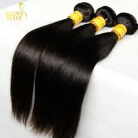 remy haarprodukte großhandel-Günstige Malaysische Gerade Reine Haar Unverarbeitete Menschliche Haarwebart Bundles Malaysische Gerade Remy Extensions Landot Haar Produkte
