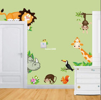 Wholesale Nursery Wall Decals Stickers Jungle - Jungle Wild Animals Vinyl Wall Decals Sticker for Baby Nursery Child Bedroom Wall Stick