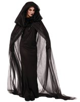 Wholesale Adult Witches Halloween Costume - Black Haunted Cape Ghost dark Witch Halloween Costume for women Sorceress Costume Adult Witch Fancy Dress Sexy Witch Wicked Cosplay