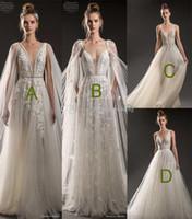 Wholesale Muslim Bride Models - 4 models heavily embellished bodice sheer cape wedding dresses 2018 emanuel brides bridal deep plunging v neck a line open v backless