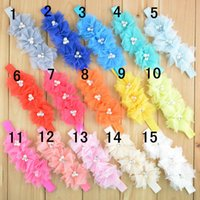 "Wholesale Wholesale Order Party Favors - Trail Order 20pcs lot Baby 4.3"" Tulle Flowers Headband Pearl Rhinestone Center Birthday Party Favors 18 color Free shipping"