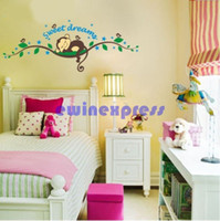 Wholesale Wall Stickers Tree Monkeys - tree wall mural stickers decal for kids home decor Monkey sweet dream removable Baby nursery Walls art decals stickers wallpaper