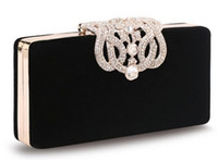 Wholesale Evening Beads Bags - 2017 new Women's Upscale Party Handbag Czech Diamond Crowne Velvet Hard Case Clutch Evening Bag Chain Crossbody Messenger Bag top