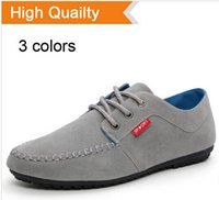 Wholesale Mens Suede Boat Shoes - Men's Flats 2014 Designer Mens Driving Shoes Breathable Mocassin Men's Loafers Lace-Up Solid Suede Leather Boat Shoes Men
