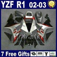 kit de corpo yamaha yzf r1 venda por atacado-Corpo prateado vermelho para YAMAHA 2002 2003 Conjunto de carenagens YZF R1 Kit de moldagem por injeção 02 03 r1 carenagem carenagem Carenagem ABS 27RD