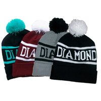 Wholesale Diamond Supply Hats Wholesale - Wholesale-Diamond Supply Co Beanie Hat Popular Skullies Beanies Men And Women Winter Knit Letter Cap 4 Colors Free Shipping SW44