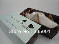 Wholesale Porcelain Salt Pepper Birds - Free shipping 15PCS LOT wedding gift of ceramic Porcelain Love Bird Salt & Pepper Shakers in blue Gift Box