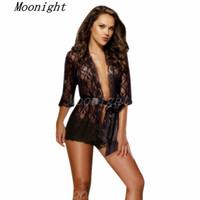 Wholesale Womens Hot Nightwear - w1022 New HOT Sale 2015 Explosion Free shipping Sexy Lingerie women's diaphanous pajama lace Sleepwear Womens Nightwear Set