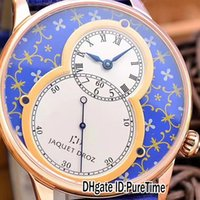 Super Clone Jaquet Droz GRANDE COLLECTION SECONDE J003033363 Rose Or Bleu Fleur Motif Blanc Dila Autoamtic Mens Montre Bleu Cuir