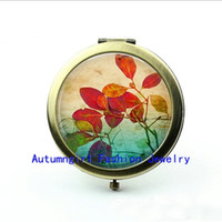 Wholesale Metal Antique Pocket Mirror - New Arrival Summer Leaves Compact Mirror Antique Pocket Mirrors Personalized Compact Mirror--00234