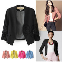 Wholesale Long Sleeve Women Business - Women Candy Plus Size Blazers luxury business Suits Fashion Ladies Girls Long Sleeve V-neck Short suit jacket Coat outwear Women Clothes