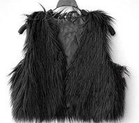Wholesale Womens Coats Sheep Fur - Womens Faux Tibet Sheep Fur Vest Waistcoat Winter Warm Vest Jacket Lady Soft Top Short sleeveless Waistcoat Coat Free Ship Black White WT68