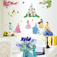 Wholesale Large Snow White Wall Sticker - Removable PVC Large Cartoon Snow White Princess Wall Sticker for Girls Kids Room Decorative Wall Decal Home Decoration Wall Art Wallpaper