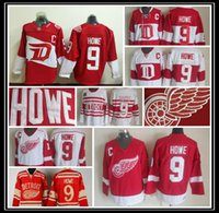 Wholesale detroit patch - Throwback #9 Gordie Howe Jersey Cheap Detroit Red Wings Jerseys Red Vintage Winter Classic Red White Gordie Howe Hockey Jerseys C Patch Sale