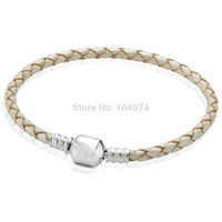 Wholesale Strand Chains Leather - Hot Sale 2015 New Arrival White Charm Leather Bracelet 925 Sterling Silver Bangle Hand Chain Fit European Charms Beads 18-21CM Length