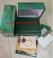 saat kutusu kağıtları toptan satış-En Kaliteli Yeşil Marka Ahşap İzle Kutusu Kağıtları Kart Çanta Hediye Kutuları Çanta 150mm * 110mm * 55mm Için 116610 116660 Saatler