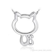 sterlin gümüş kedi takılar toptan satış-925 ayar gümüş öğeler kristal takı düğün kolye kolye vintage hello kitty diamante kedi şekilli charms