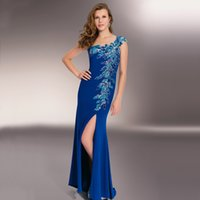 Heavy Handmade Pailletten Prom Kleider Sheer Zurück Split Side Rock One Shoulder Prom Kleider Royal Blue Mermaid Abendkleider Lange P1117A