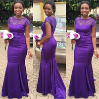 Wholesale Short Sleeve Dress Real Image - New Purple Beaded Cheap Bridesmaid Dresses 2016 Mermaid With Short Sleeves Sheer Jewel Neckline Satin Prom Dress With Bow Sash