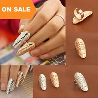 Wholesale nail fish - Fashion Fish Fossil nail rings alloy gold silver fish bone band finger rings women statement jewelry finger Nail art Sticker rings 080039