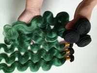 ingrosso piume brasiliane-Moda Womens Feather trama di capelli brasiliani europei estensioni dei capelli indiani ombre macchina doppia trama 3 4 5 bundles Two Tone 1B / verde DHgate
