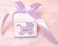 Wholesale Baby Favours Free Shipping - Free shipping 100pcs Baby's Day Pink Carriage Laser-Cut Candy Boxes Wedding Party Gift Favour Bags Holders baby shower decoration