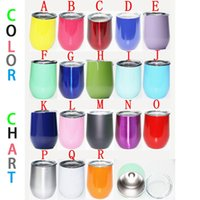 Wholesale Powder Coats - 9oz Egg Cup Stainless Stemless Wine Glass Powder Coated Wine Glass Cup with Lid Stainless Wine Glass Mug Rtic Tumbler