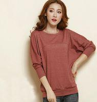 Wholesale Bat Hoody - Wholesale-New 2015 Women's Hoodies Pullover Lady Sweatshirts Outwear Ladies Fashion Bat sleeve women hoody Patchwork Tops L - XXXXL 465