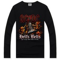 Wholesale Plus Size Rock Roll - Wholesale-2015 NEW AC DC O-neck Men's Shirt Hip Hop Clothes Sports Maximum Rock Roll Streetwear Long Sleeve Plus Size XXXL Sounds