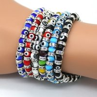 Wholesale Evil Eye Glass Beads Bracelet - Wholesale-Hot!!! Evil Eye Charm Bracelets, Composed Of Eye Glass Beads and 6 mm Diamante ,6 Color Wholesale