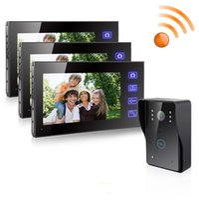 Wholesale Doorbell Dhl - DHL EMS Free Shipping 1V3 7 Inch TFT Wireless Door Phone Video Doorbell Intercom Security IR Camera 1 Camera 3 Indoor Monitors