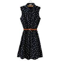 Wholesale Dresses Cats Women - Promotion Summer Dress 2017 New Women Sleeveless Dresses Cat Turn-down Collar Footprints Pattern Thin Dress With Belt vestidos