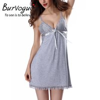 Wholesale Sexy Baby Doll Lingerie - Burvouge New Summer Silk Nightwear Nightdress Sexy Lingerie Nightdress Sleepwear Nightgowns Lace Baby dolls Sleepwear Babydolls